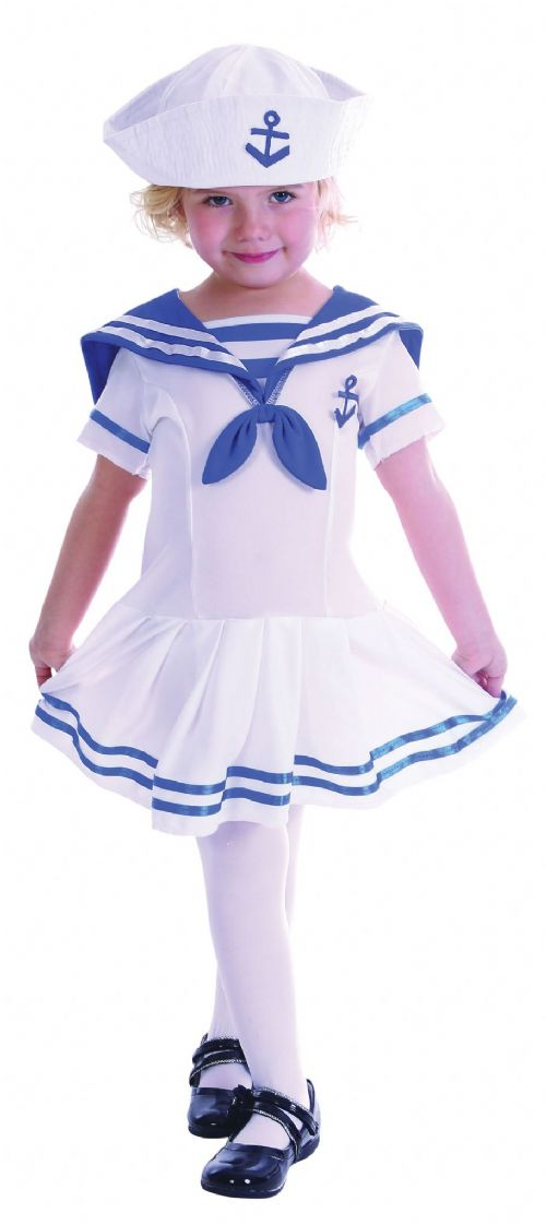Childs Sailor Girl Costume Navy Crew Military Seaman Fancy Dress Outfit